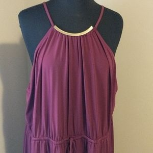 Lane Bryant 26/28 Purple+Gold Maxi Dress